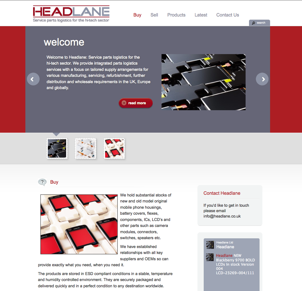 Headlane website in WordPress