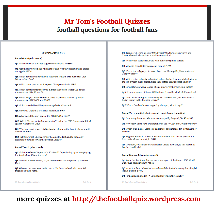 Mr Tom's Football Quiz