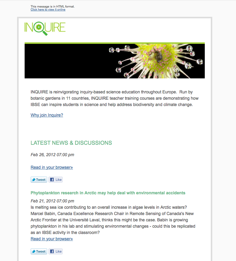 INquire RSS Email newsletter in Mailchimp